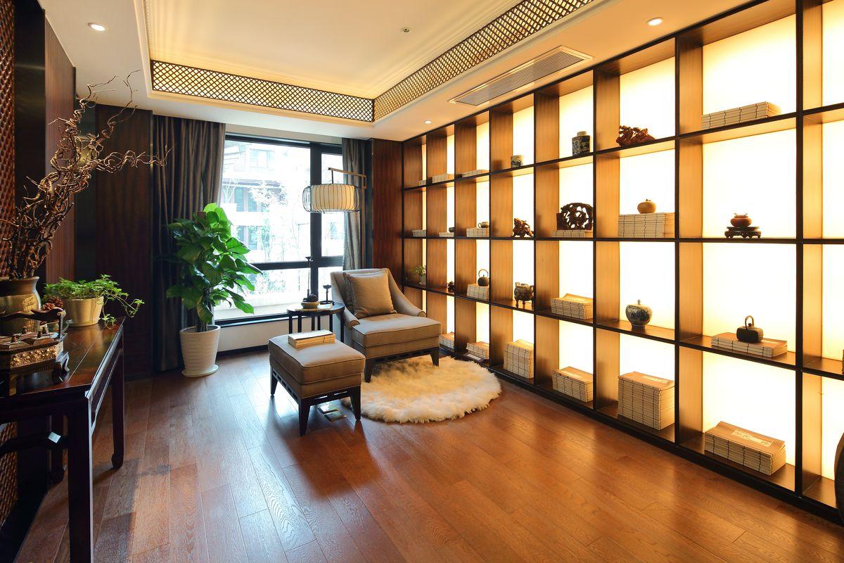 中式书房装饰,家装样板房,地产样板房,样板房,室内装饰设计,家居设计图片