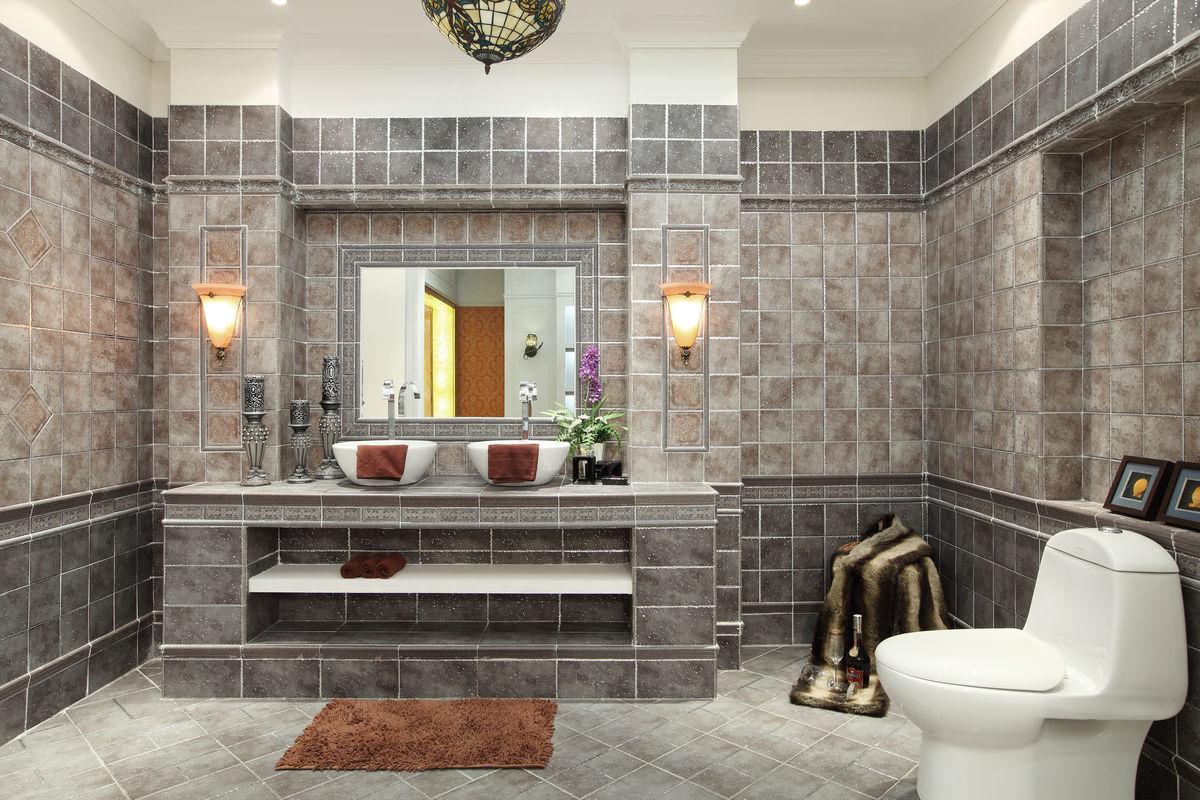 洗手间,开放式厨房,马桶,欧式设计,田园风格,样板房,别墅,豪宅,实景图片