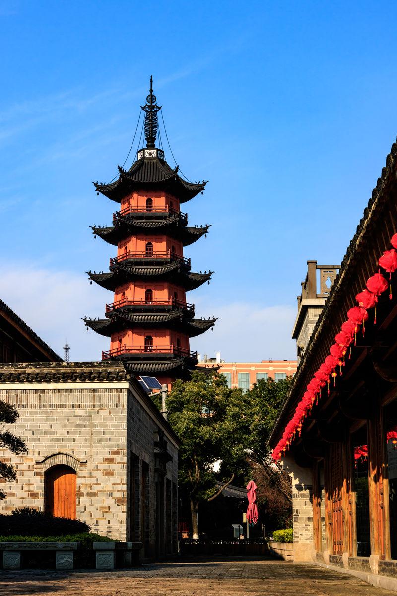 宁波海曙,宁波风光,中式建筑,宁波特色旅游景点,中式古建筑,佛塔,宗教图片