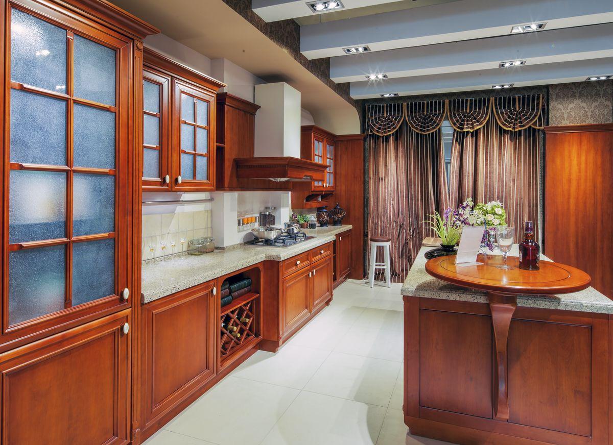 橱柜 整体实木原木厨房图片