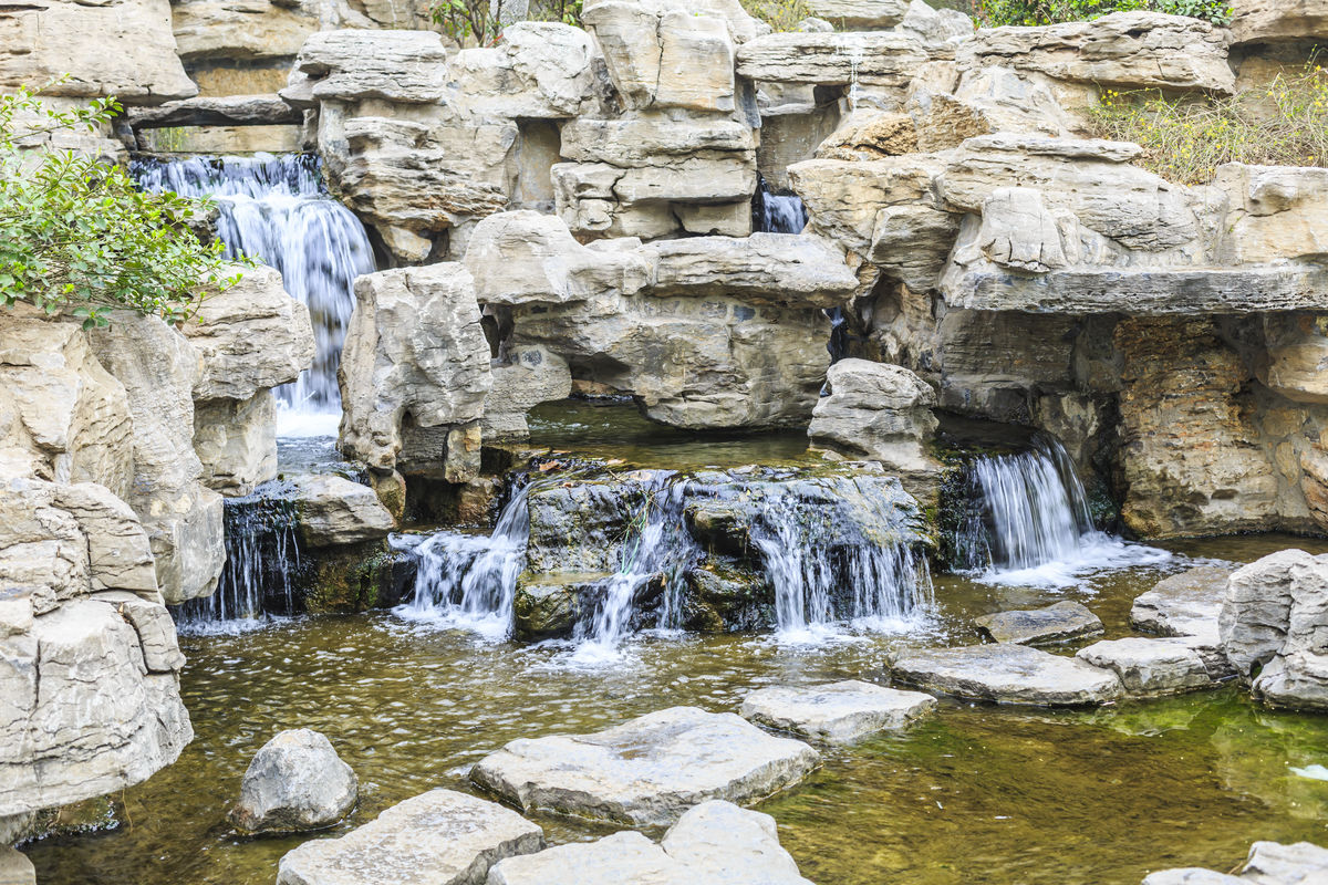 山水景观,城市景观,园林绿化,假山,瀑布,小溪,河流,溪流,景观造型图片