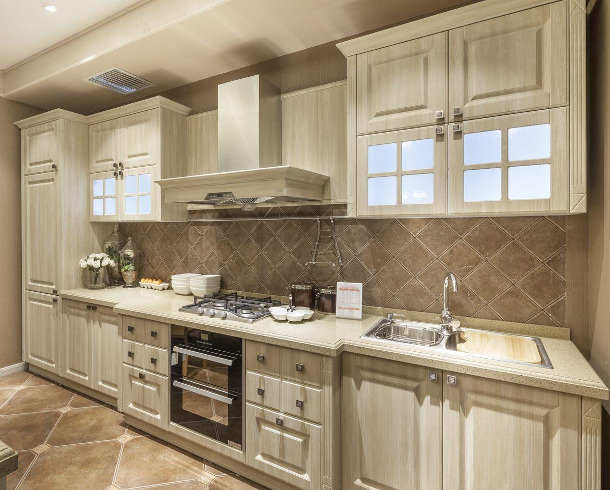 橱柜 整体实木厨房 高清图片