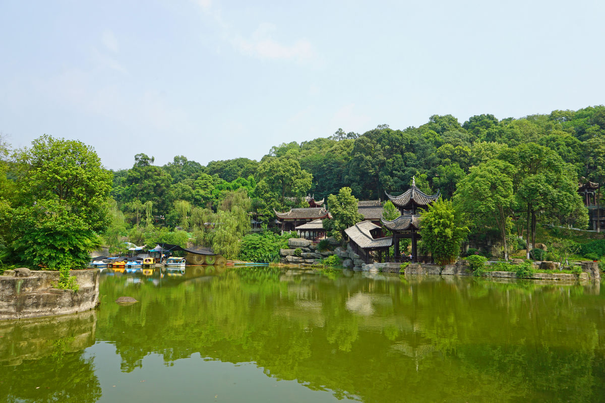 中式园林景观,水榭亭台,玉女湖,池塘湖泊水景,中国古典建筑,中式建图片