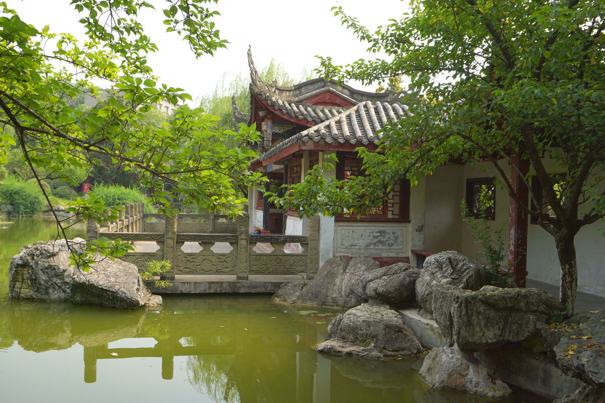 中国古典建筑,水榭亭台,池塘水景,中式建筑,中国传统建筑,中式园林图片
