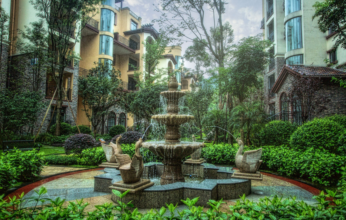 欧式别墅园林,私家园林,欧式喷泉,欧式园林景观,法式园林景观,别墅花图片
