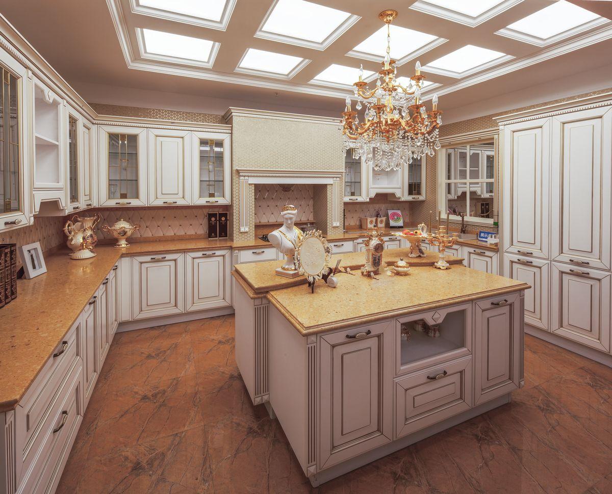 欧式原木实木橱柜 豪华整体厨房图片