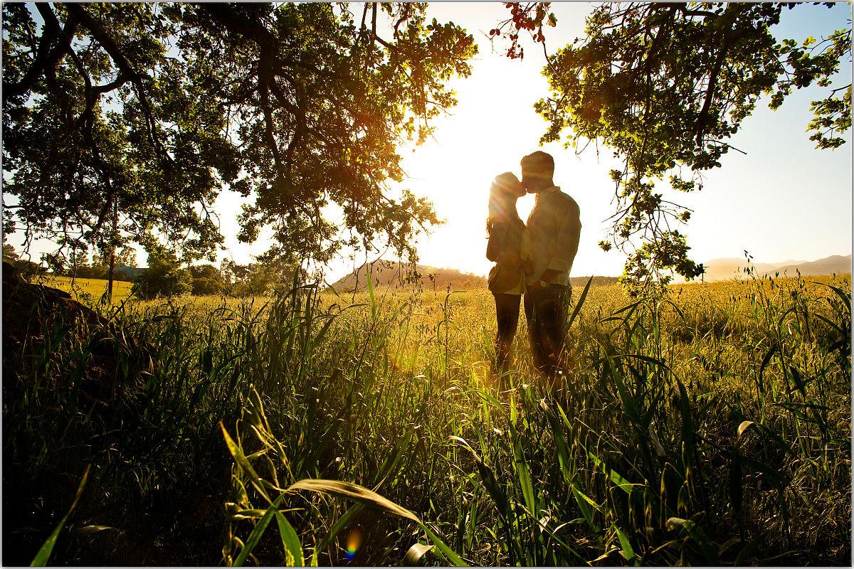 情侣接吻剪影图片