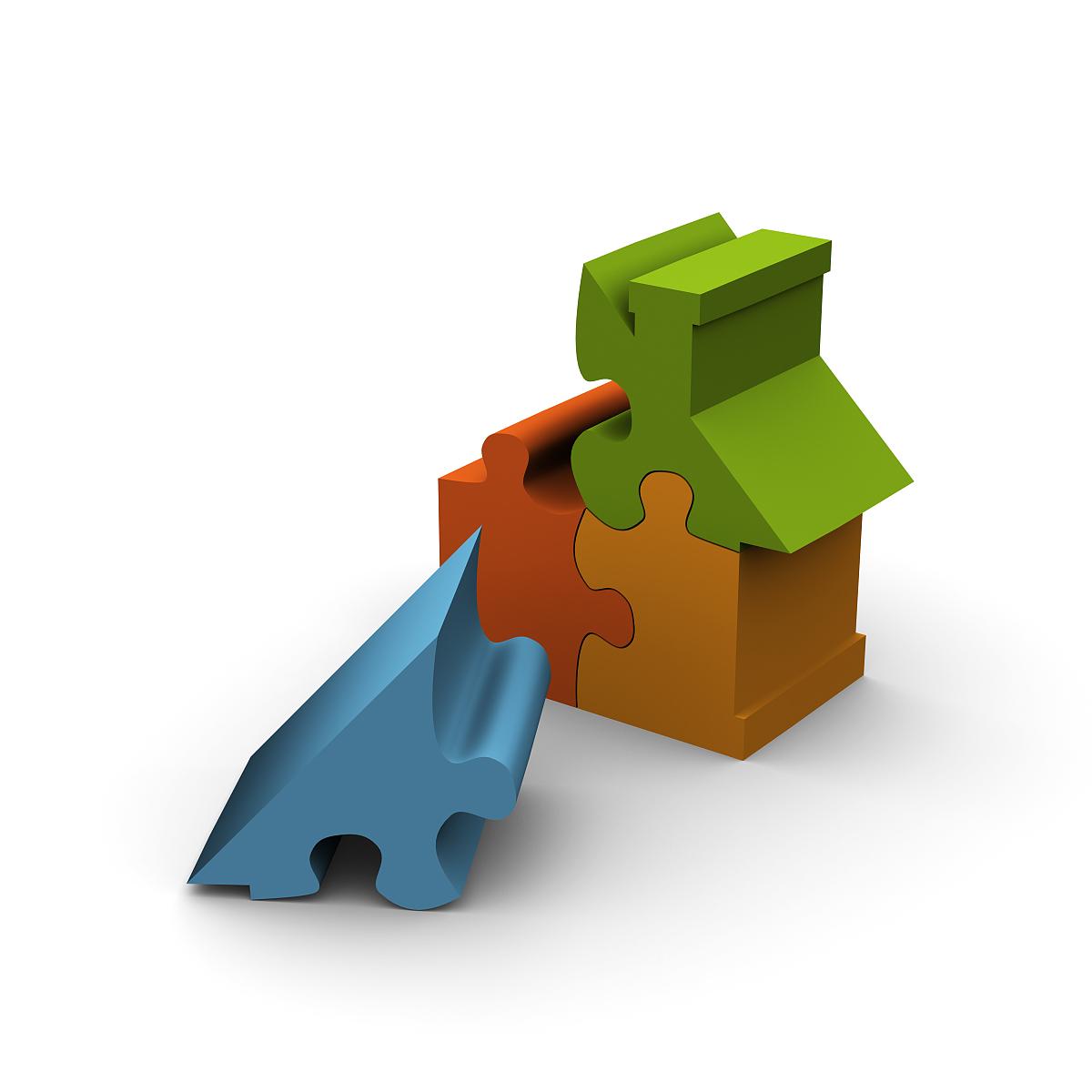 房地产,七巧板,符号,背景分离,谜题游戏,房屋,正方形,简单背景,概念图片