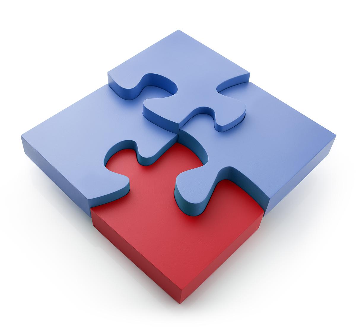 形成正方形的蓝红色拼图