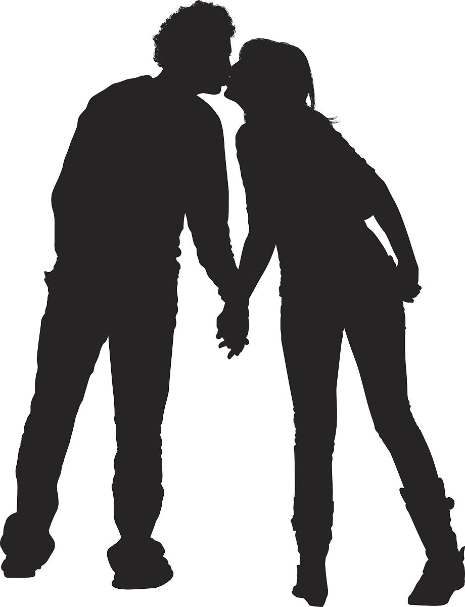 情侣接吻的剪影图片图片