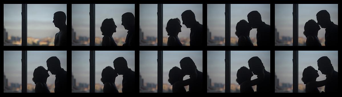 剪影情侣接吻系列照片图片