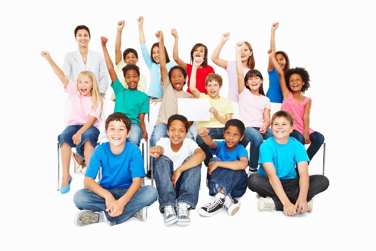 青春期前儿童,露齿笑,举起手,非洲人,白色背景,仅儿童,放松,集体照,空图片