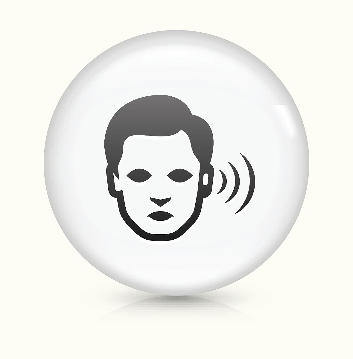 听���!�`iyn��+��n���'���_听力损失图标的白色圆形矢量按钮