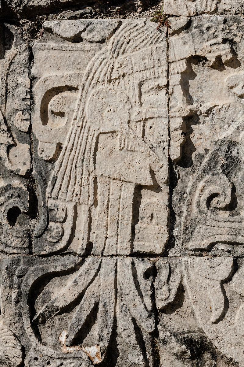 在乌斯马尔,yucat墙上的数字吗?n,墨西哥图片