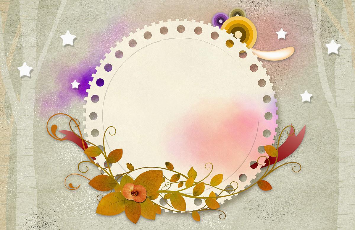 花叶圆信纸图片