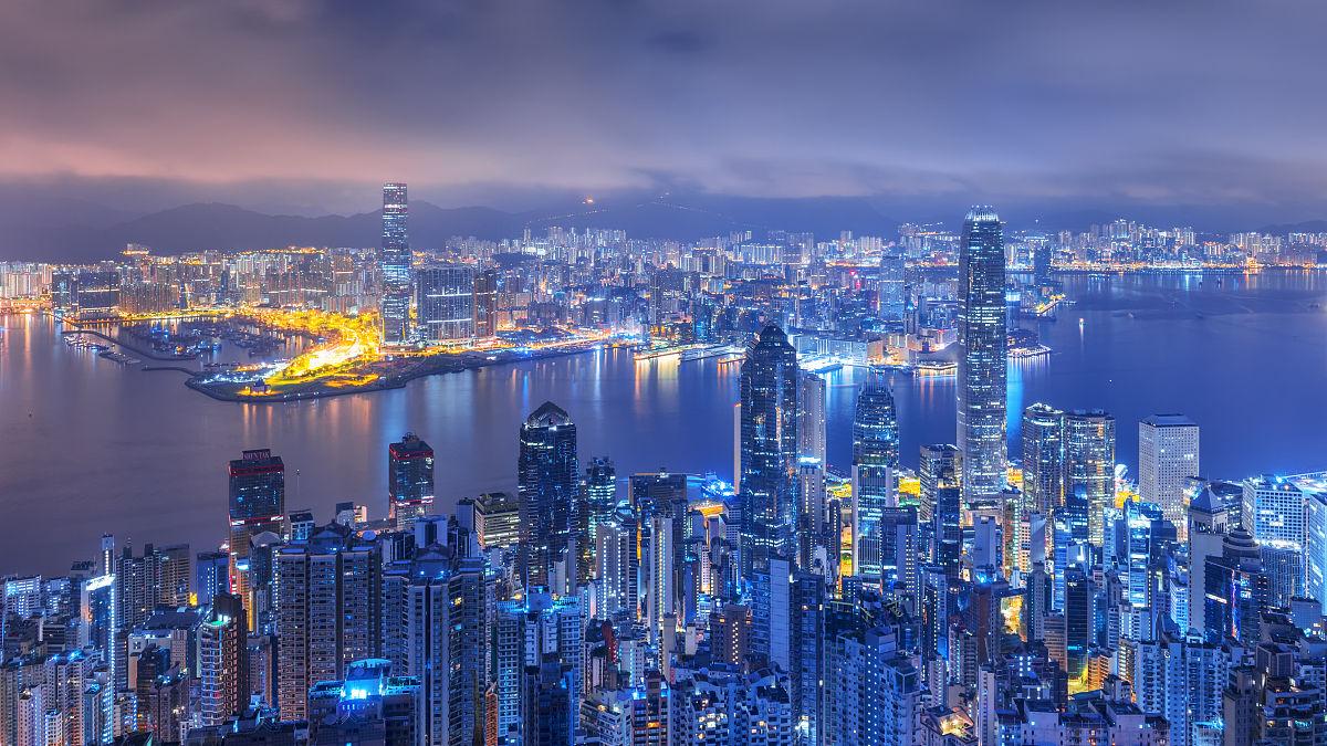 维多利亚港的日出景象,香港图片
