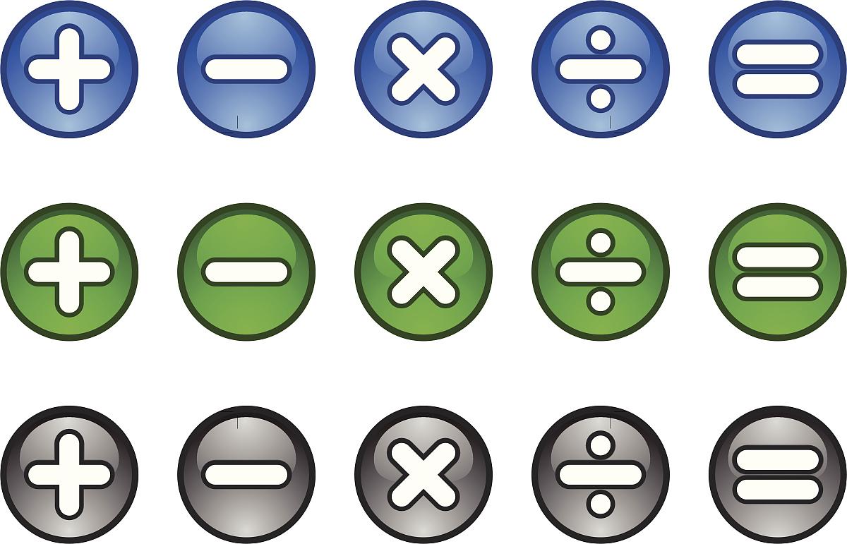 数学符����9�$9�9f�j_计算器数学符号图标按钮加减号乘除等于
