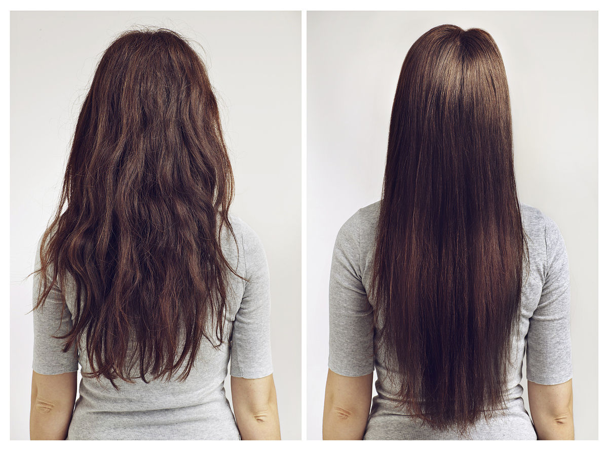 影棚拍摄,半身像,室内,背面视角,合成图像,发型,卷发,直发,长发,棕色图片
