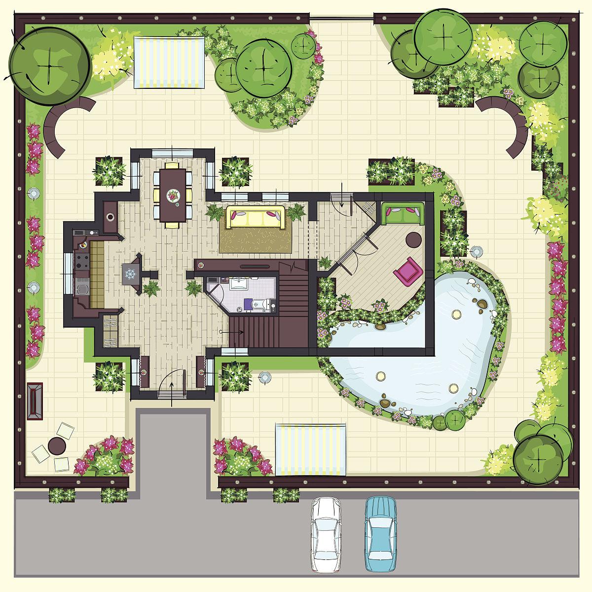 菜园,铅笔画,草图,建筑外部,烤肉架,矢量,房地产,景观设计,别墅,围墙图片