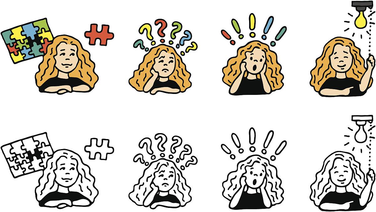 专心,思考,解决,问题,黑白图片,谜题游戏,一个人,前进的道路,问号图片