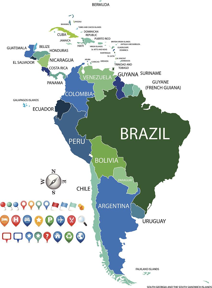 政治南美国地图与gps图标图片
