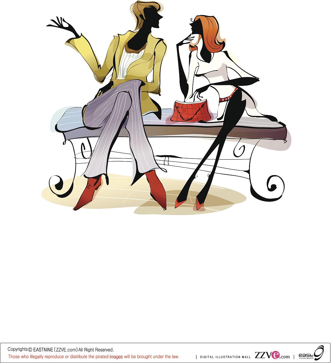 女性,女人,休闲活动,矢量,打电话,挨着,头发长度,无线电技术,伴侣,女图片