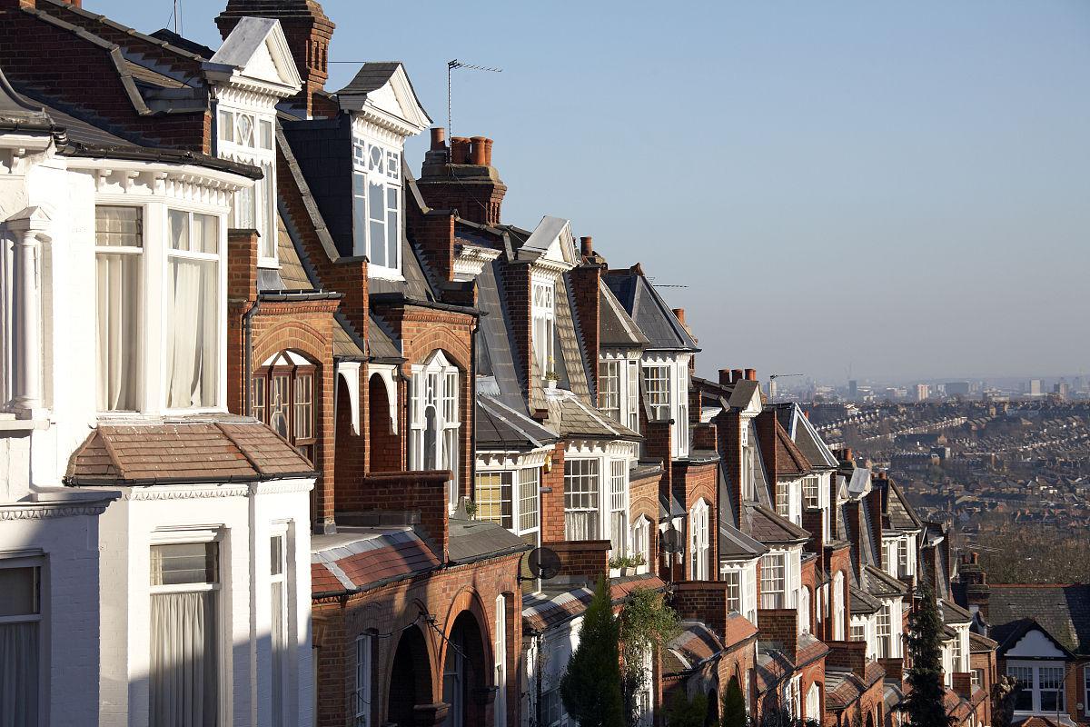 郊区的房屋和muswell hill的屋顶图片