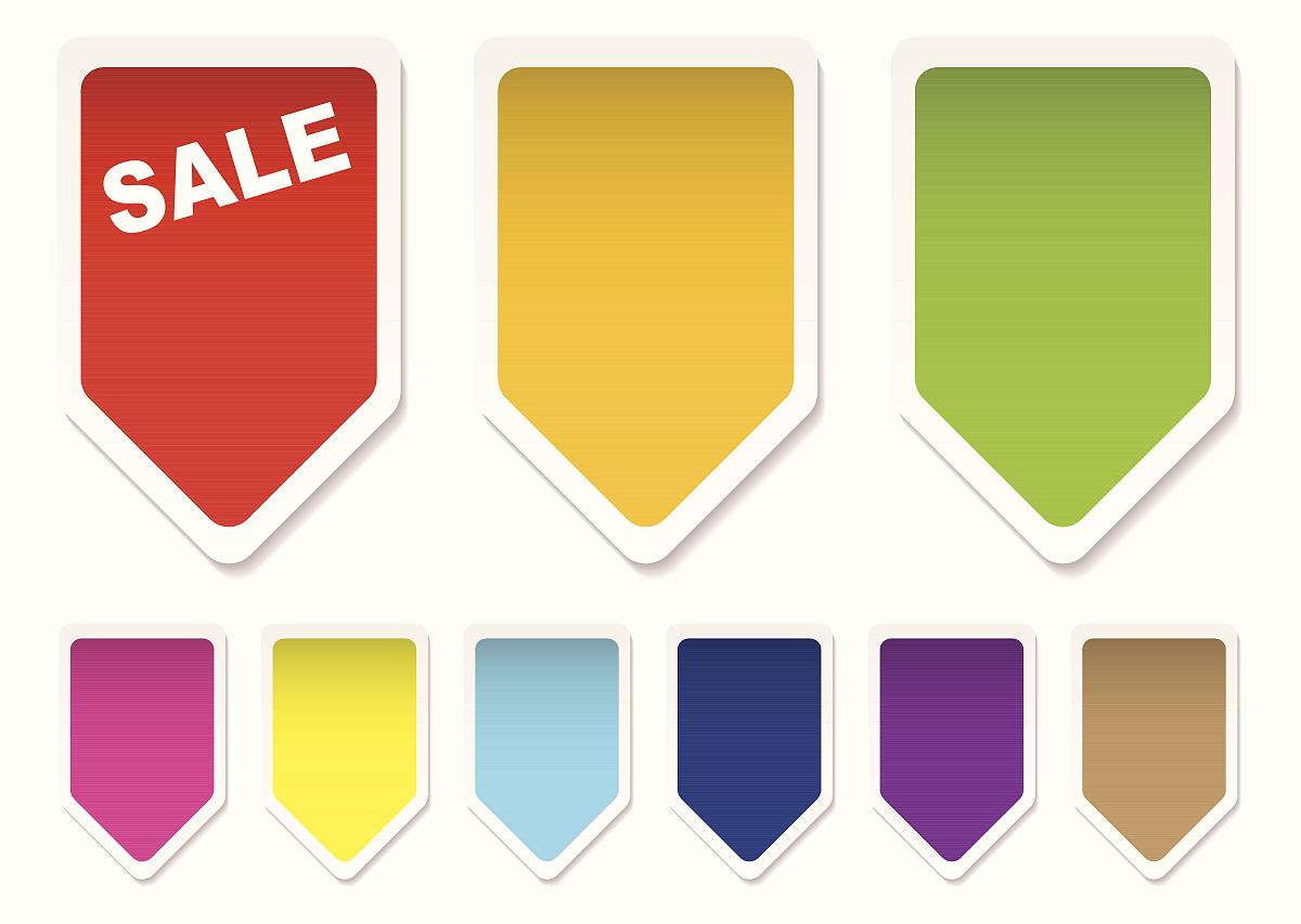 价格_收藏色彩鲜艳的价格标签图标空白