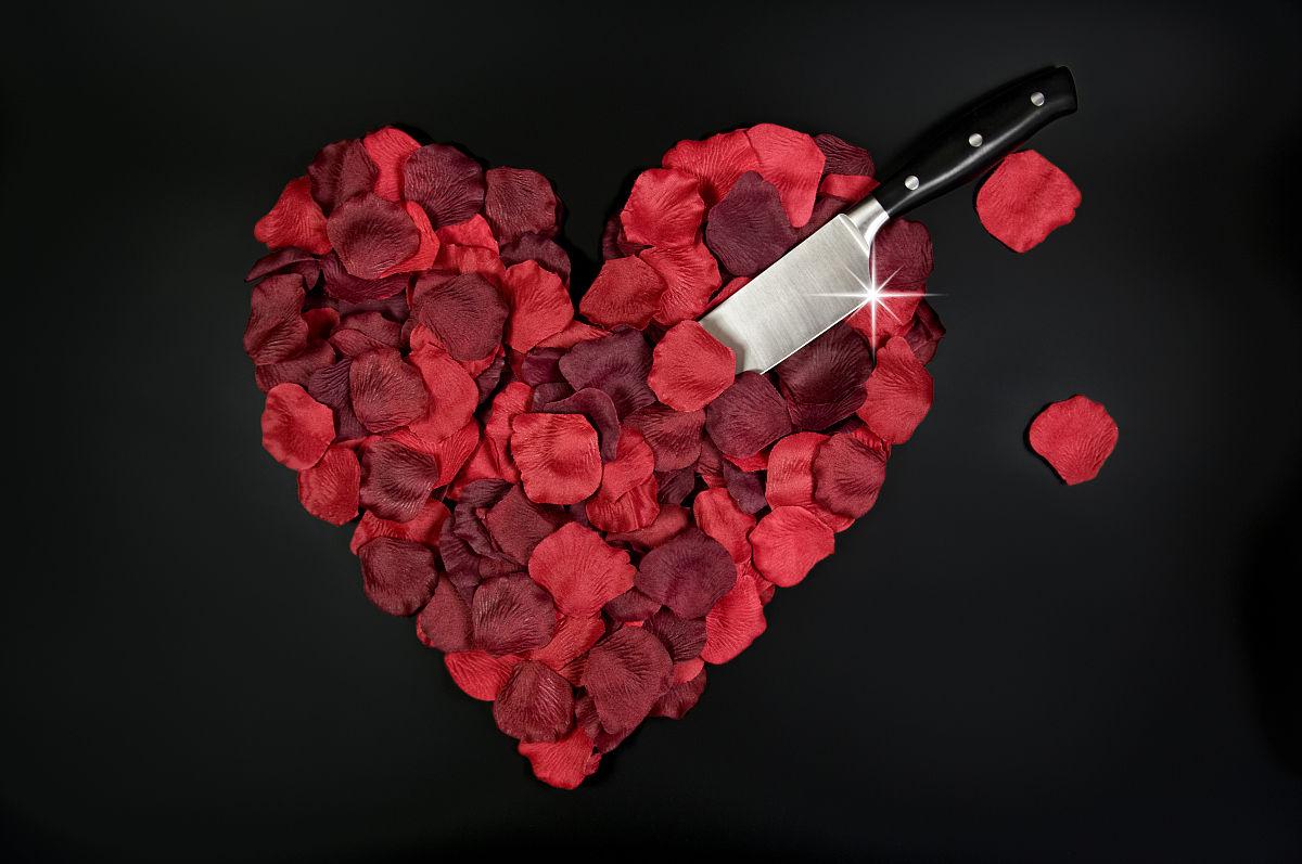 心形心形红玫瑰花瓣图片