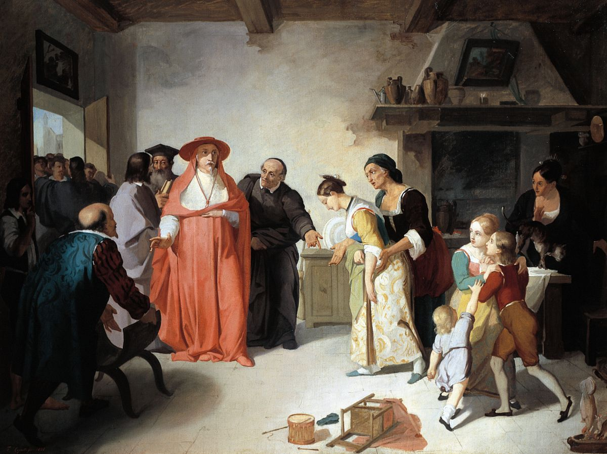美术绘画,彩色图片,文学,油画,红衣主教,拜访,大量人群,男人,男孩图片