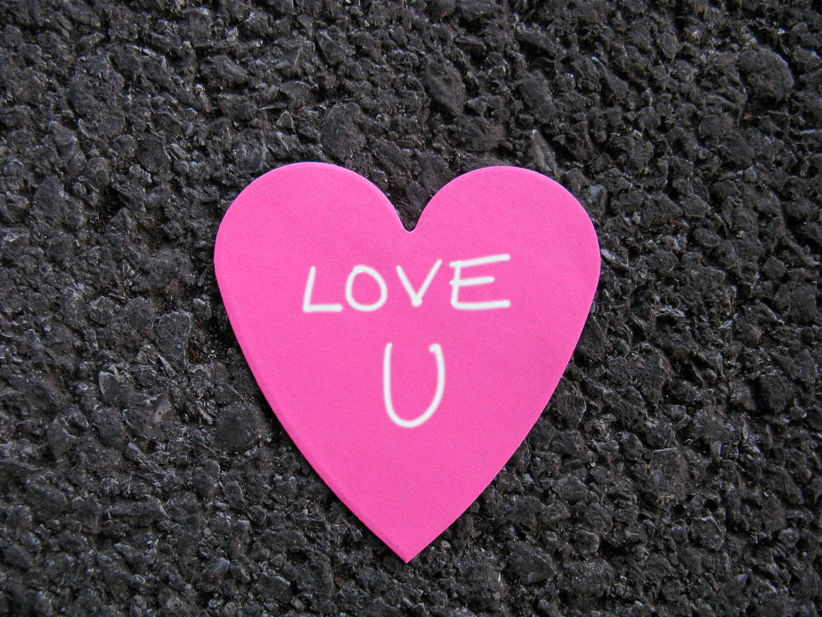 兽人老公我爱你_爱你在柏油路上粉红色的心