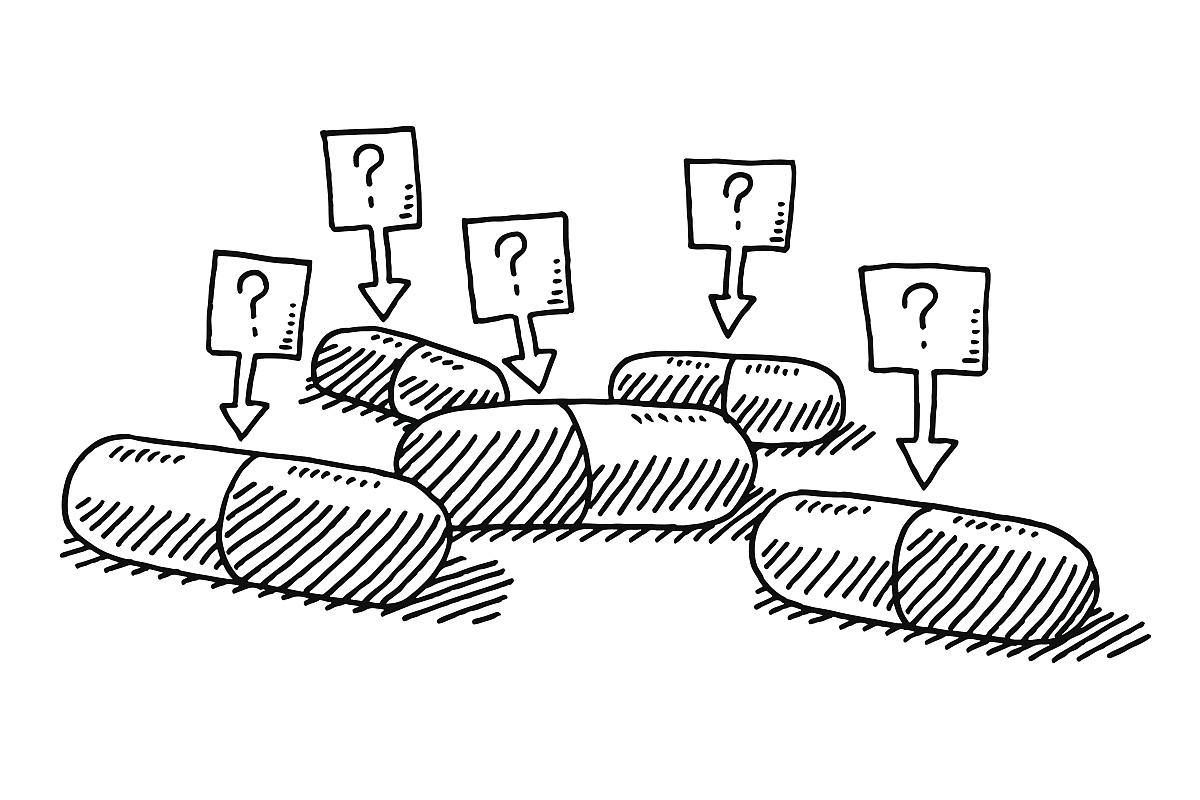安慰剂药丸问号绘画图片