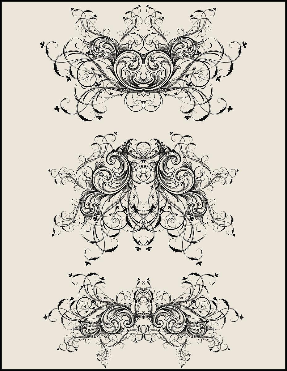 华丽的,雕刻图像,古董,无人,矢量,阿拉伯风格,花形图案装饰,花体,漩涡图片