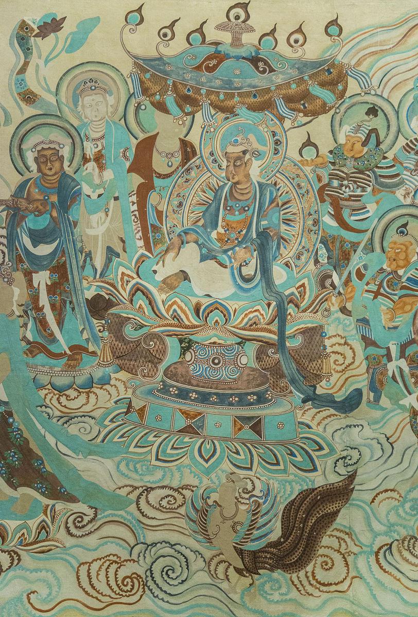 丝绸之路,亚洲,东亚,中国,甘肃省,敦煌,住宅内部,佛经,手艺,壁画,飞天图片