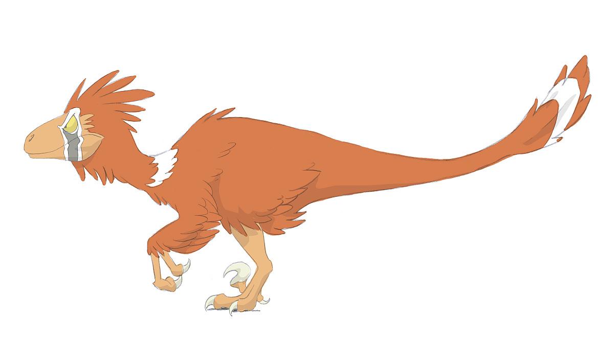 数字彩色铅笔画恐爪龙.图片