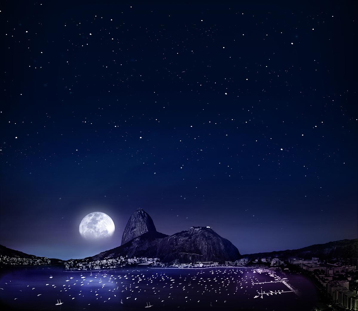 户外,南美,巴西,著名景点,水,天空,太空,月亮,星星,山,夜晚,海洋,里约图片