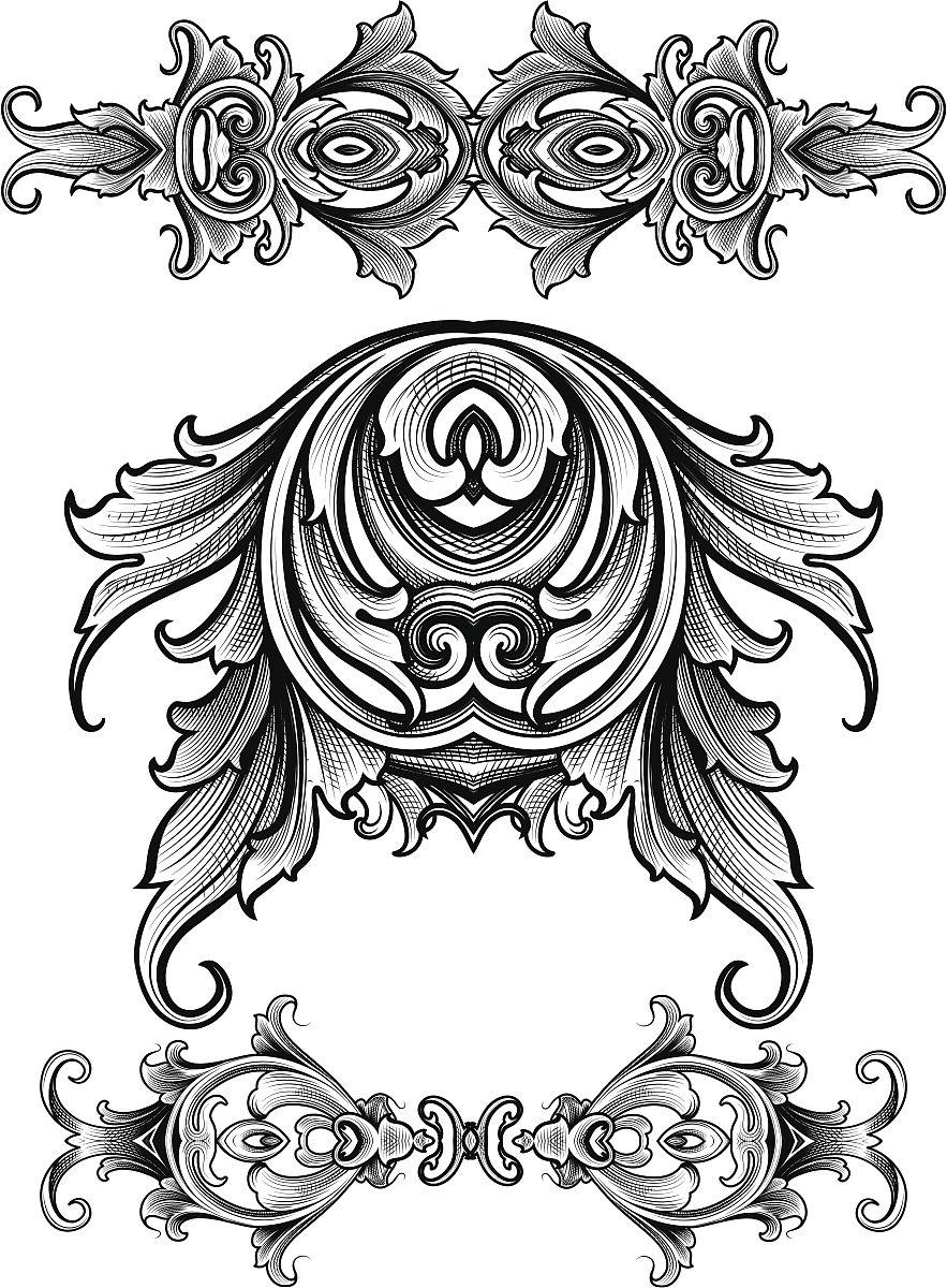 卷着的,雕刻术,华丽的,雕刻图像,花纹,矢量,阿拉伯风格,装饰镜板,花体图片