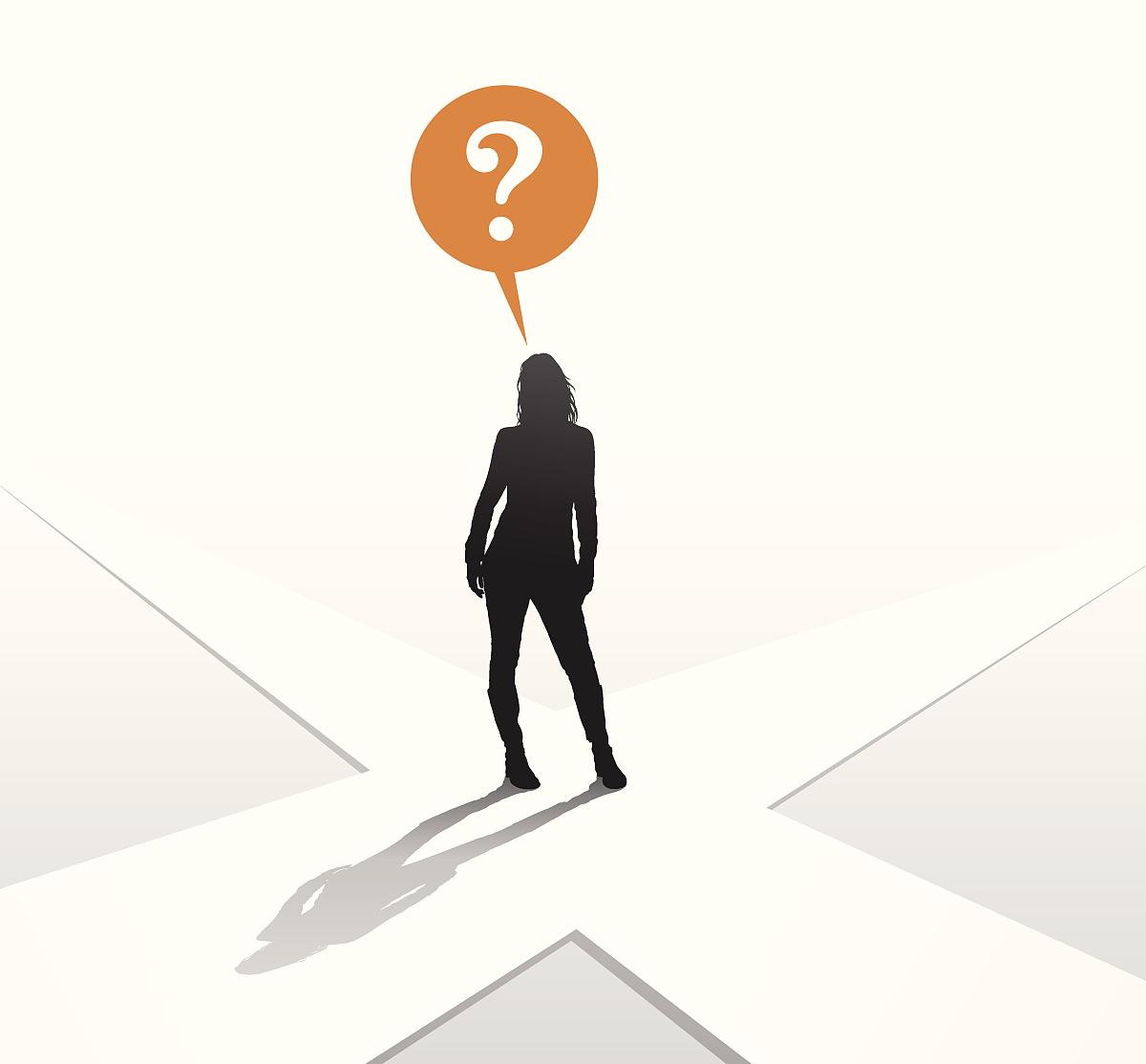 思考,决定,解决,策略,路,黑白图片,方向,剪影,路口,对话气泡框,问号图片