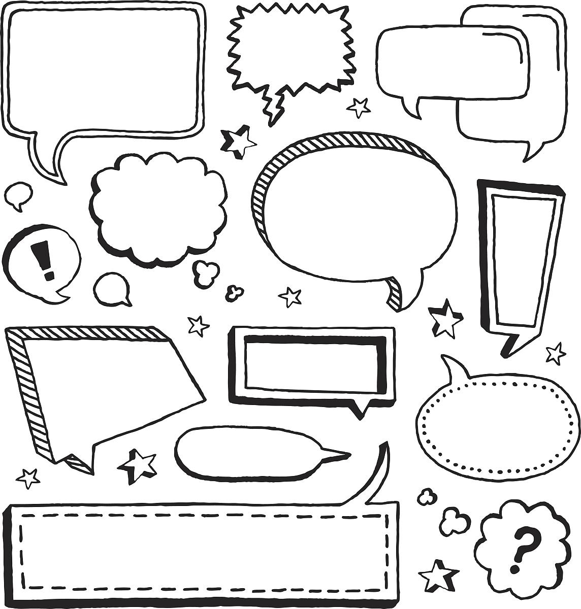 黑白图片,铅笔画,矢量,草图,感叹号,卡通,儿童画,绘画插图,问号,插画图片