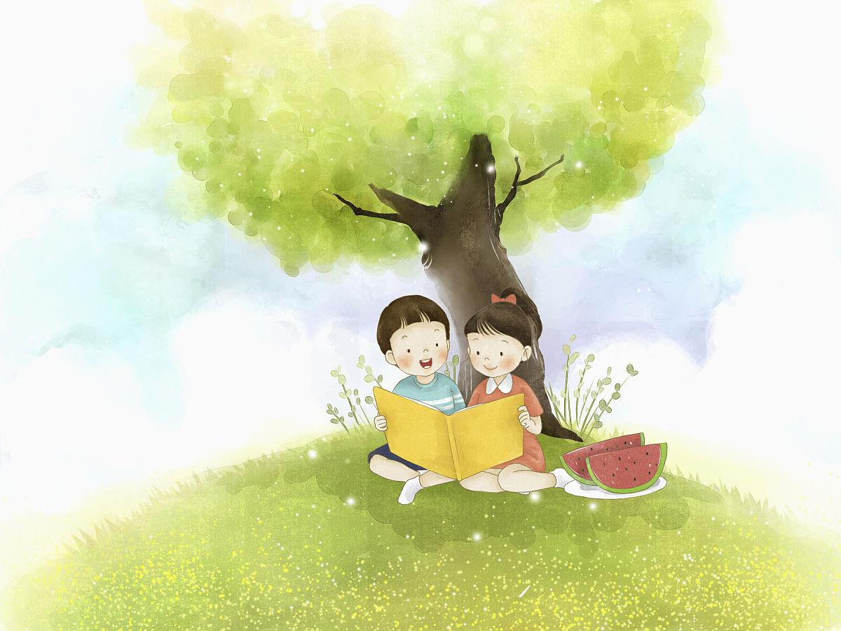 孩子在树下看书图片