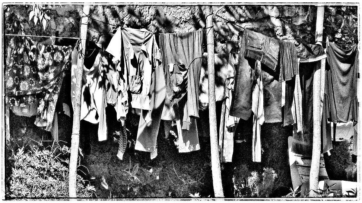 衣_在后院晾衣绳