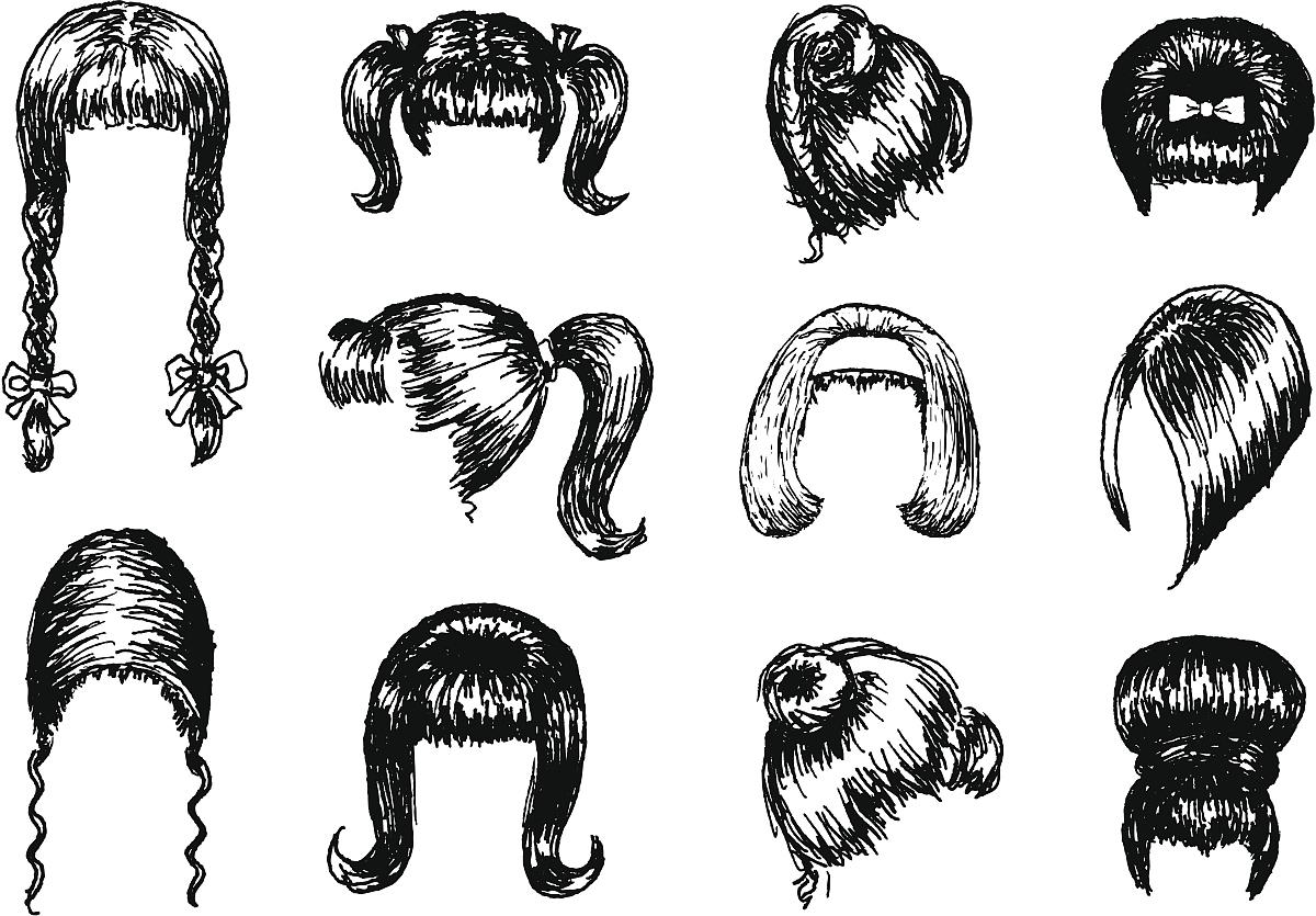 头发向后梳,蜂窝式发型,1960年-1969年,自然美,头发,发型,铅笔画图片