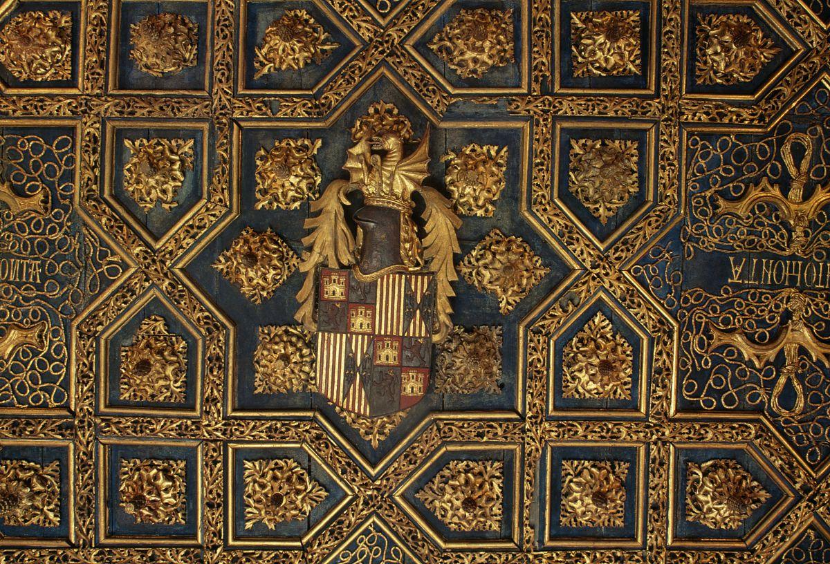 纹章符号在aljaferia宫殿房间的天花板(联合国教科文组织世界文化遗产图片