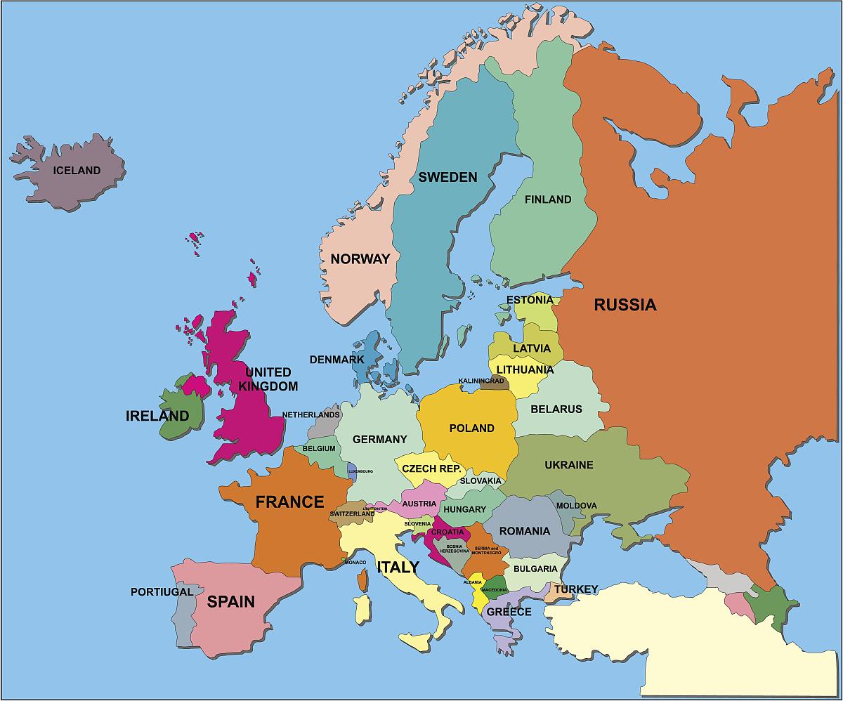 欧洲政治地图矢量格式图片