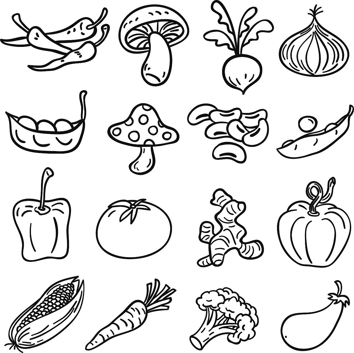 黑白蔬菜收集-插图图片