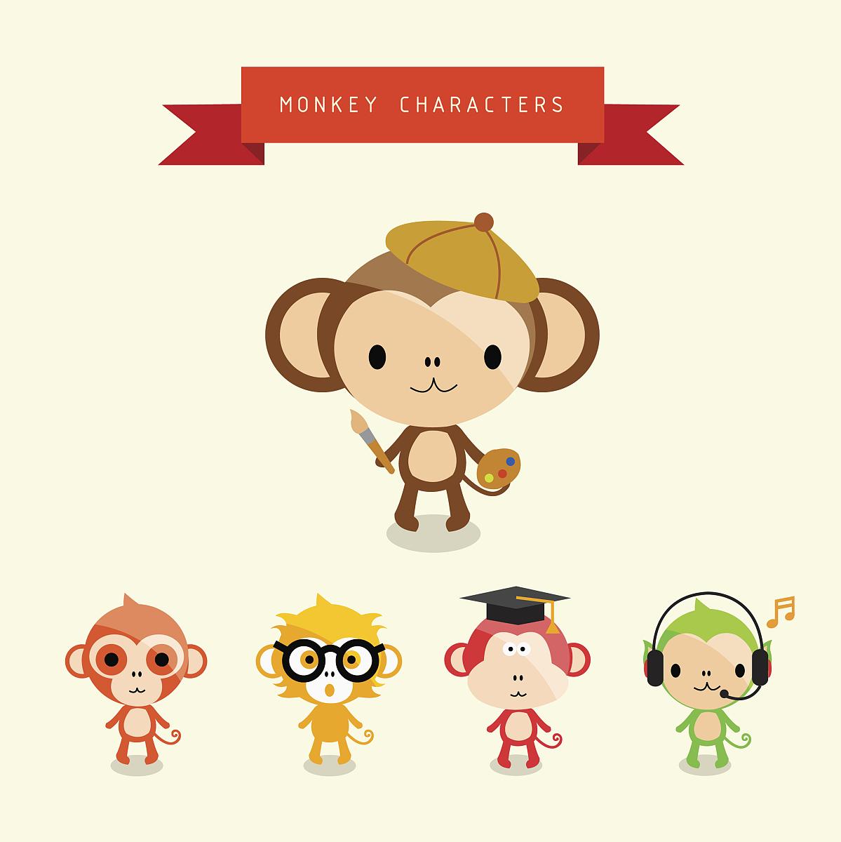 画猴子用什么颜色_野生猫科动物,灵长目,猴子,音乐符号,拟人,绘画插图,彩色图片,颜色,多