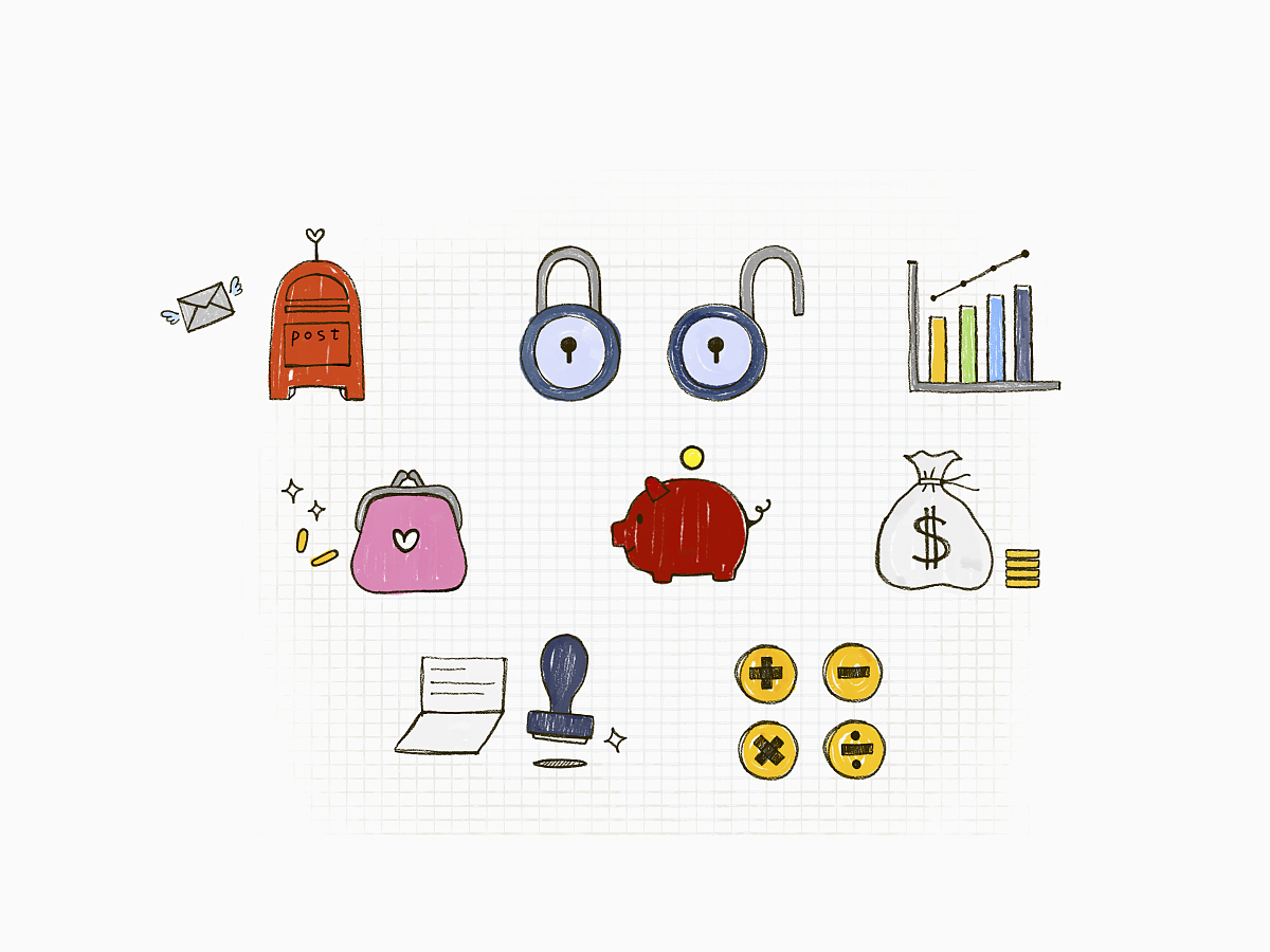零钱包,猪,小猪扑满,电子邮件,安全,水彩画颜料,数学,数学符号,图标图片