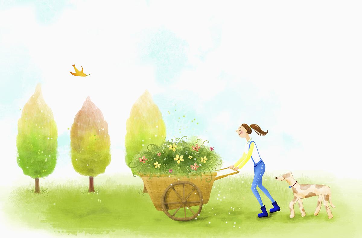真实的人,纯种犬,水彩画颜料,云景,一个人,仅一朵花,狗,仅天空图片