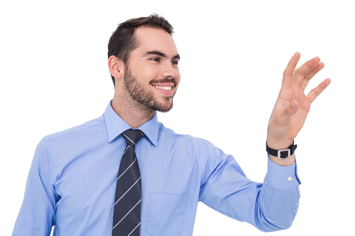 白色背景,背景分离,男商人,套装,领带,衬衫,蓝色,商务,棕色头发,短发图片