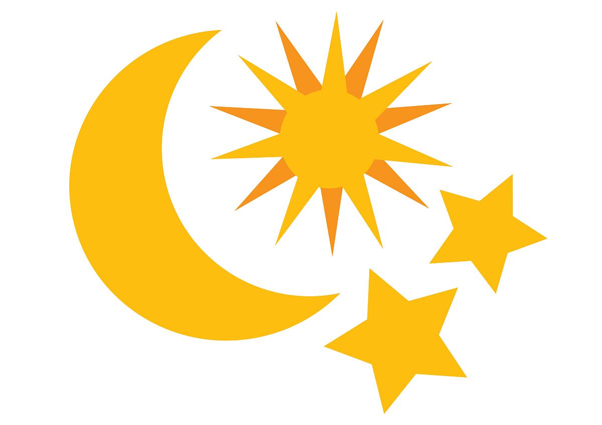 代表太阳,moon和星星的数码插画图片